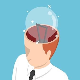 Izometryczny biznesmen z żarówką w głowie