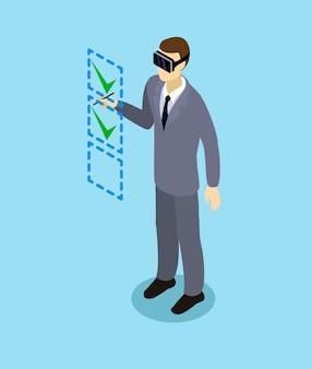 Izometryczny biznesmen z zestawem słuchawkowym wirtualnej rzeczywistości