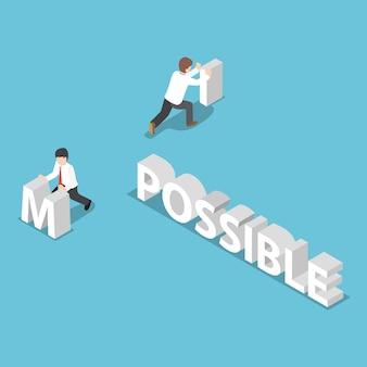 Izometryczny biznesmen zmienić słowo niemożliwe możliwe