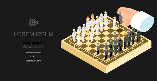 Izometryczny biznesowy szablon szachowy z biznesmenami w biało-czarnych garniturach i menedżerem ruchu ręki męskiej na ilustracji deski,