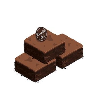 Izometryczny brownie czekoladowe ciasto wektor