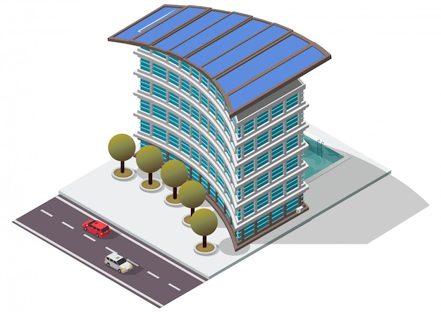 Izometryczny budynek apartamentowy hotelu