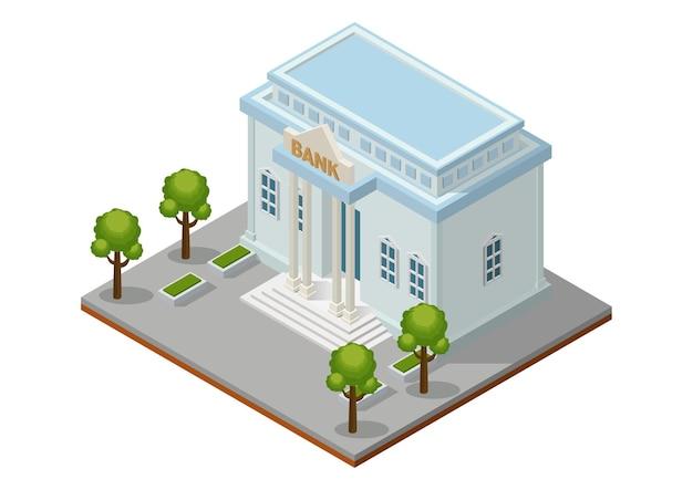 Izometryczny budynek banku. budynek publiczny architektury miasta.