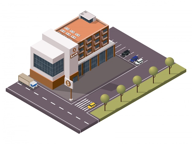 Izometryczny budynek banku z szyldem i parkingiem przed widokiem na podwórze.