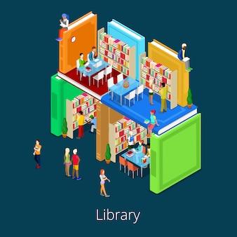 Izometryczny budynek biblioteki z książek z ludźmi. koncepcja edukacyjna.
