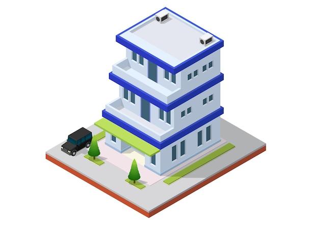 Izometryczny budynek biurowy z samochodem. budynek biurowy na białym tle ilustracja