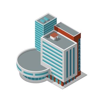 Izometryczny budynek biurowy