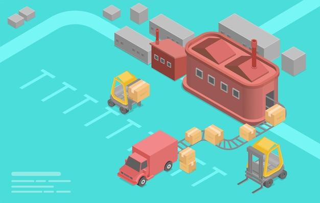 Izometryczny budynek fabryczny., magazyn ze skrzyniami do wysyłki, ciężarówki, wózki widłowe z ładunkiem. logistyka przemysłowa i działalność handlowa. płaskie ilustracja kreskówka.