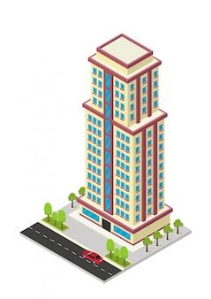 Izometryczny budynek hotelu, apartamentu lub wieżowca