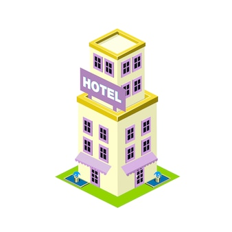 Izometryczny budynek hotelu ilustracja