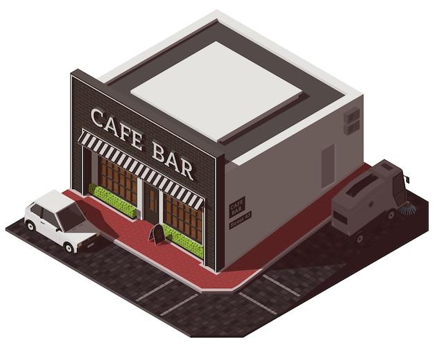 Izometryczny budynek kawiarni
