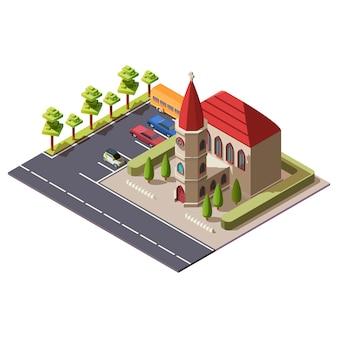 Izometryczny budynek kościoła chrześcijańskiego katolickiego