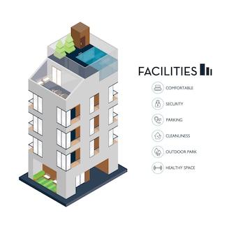 Izometryczny budynek miejski. ikona udogodnienia dla kondominium.