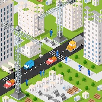 Izometryczny budynek miejski z wieloma domami i drapaczami chmur, maszynami budowlanymi, dźwigami i pojazdami