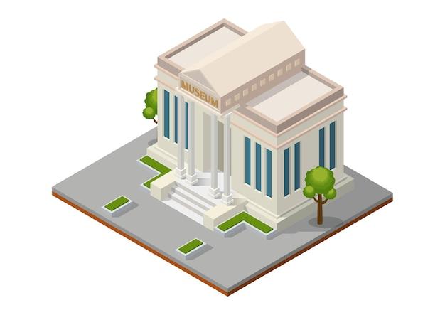 Izometryczny budynek muzeum. budynek publiczny architektury miasta.