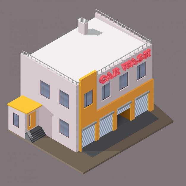 Izometryczny budynek myjni