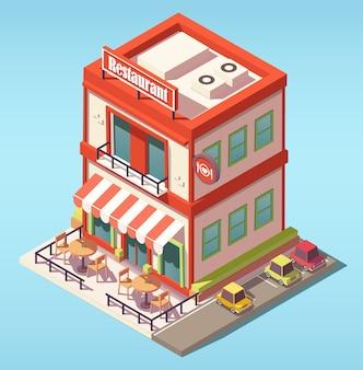 Izometryczny budynek restauracji
