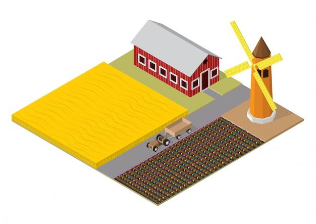 Izometryczny budynek rolnictwa