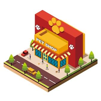 Izometryczny budynek sklepu zoologicznego