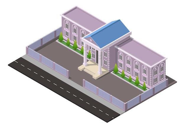 Izometryczny budynek starej szkoły lub budynku mieszkalnego z drzewami i drogą