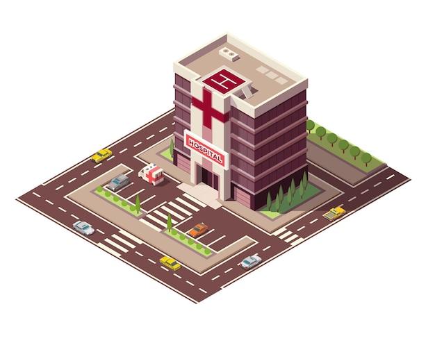 Izometryczny budynek szpitala lub pogotowia ratunkowego z oznakowaniem