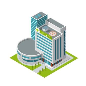 Izometryczny budynek szpitala
