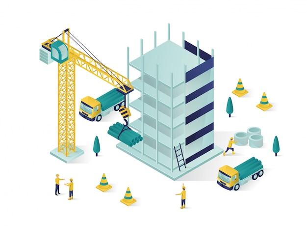 Izometryczny budynek w budowie
