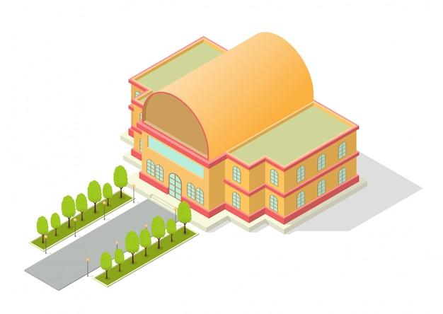 Izometryczny budynek z drogą i drzewami