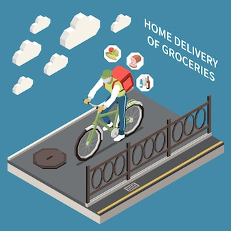 Izometryczny charakter kuriera dostarczającego artykuły spożywcze rowerem