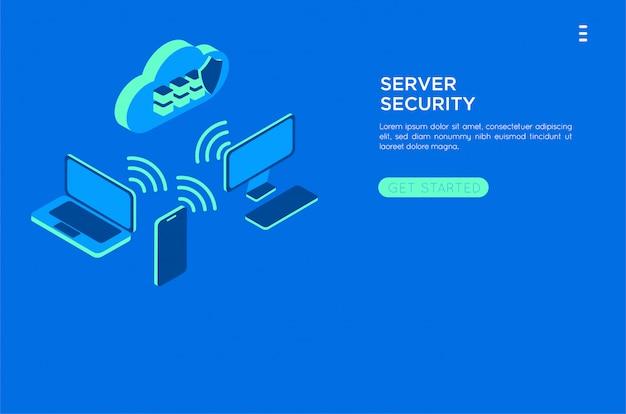 Izometryczny chmura ilustracja serwera