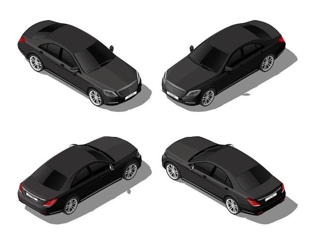 Izometryczny czarny samochód sedan z różnych stron nowoczesny wektor pojazdu wyizolowany na whitez