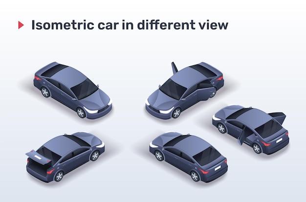 Izometryczny czarny samochód w innym widoku (z otwartymi drzwiami i bagażnikiem).
