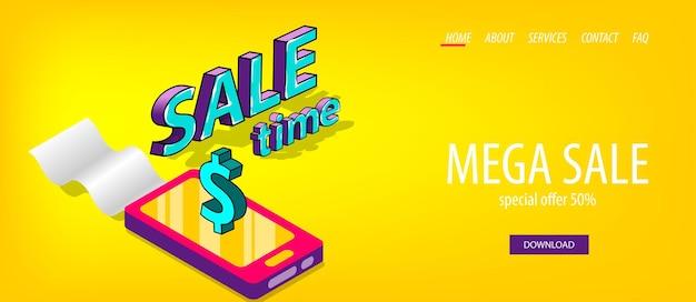Izometryczny czas sprzedaży baner biznesowy za pośrednictwem aplikacji mobilnych zakupy cyfrowe tekst komiksowy 3d