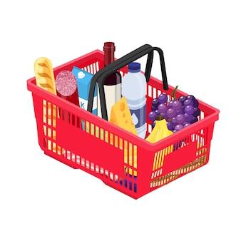 Izometryczny czerwony plastikowy koszyk na zakupy