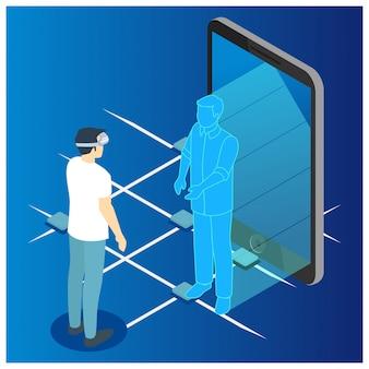 Izometryczny człowiek komunikuje się z hologramem futurystyczny abstrakcyjny ekran smartfona.
