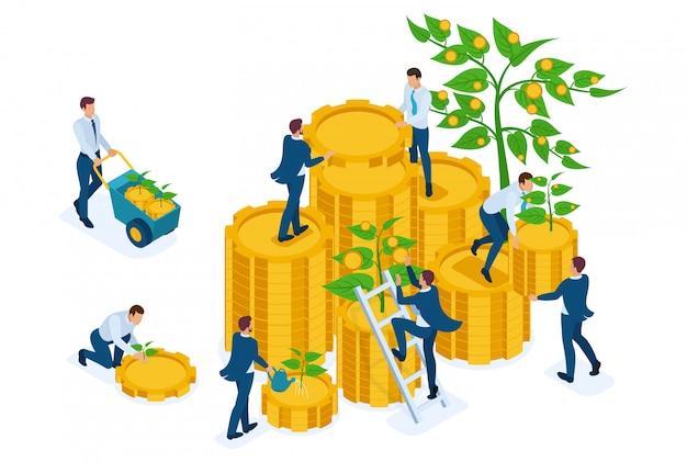 Izometryczny dochód z inwestycji, biznesmeni zbierają zyski i reinwestują pieniądze.