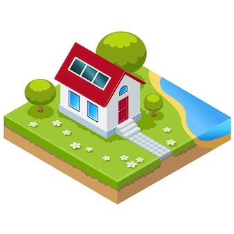 Izometryczny dom ekologiczny z ogniwami słonecznymi. ilustracja
