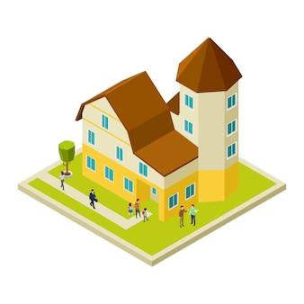 Izometryczny dom i ludzie