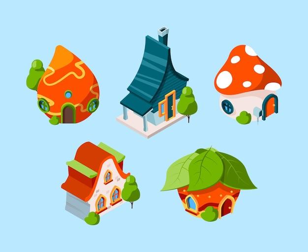 Izometryczny dom z bajki. budynki fantasy dla gier 3d kreskówka wektor budowy. ilustracja 3d bajkowy budynek do projektowania gier