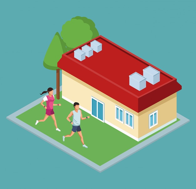 Izometryczny dom z ludźmi biegają