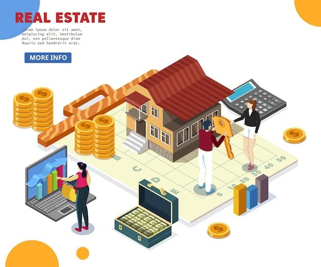 Izometryczny, domek obok kalkulatora i wykres złotych monet z czerwoną strzałką w górę, rosnące ceny domów