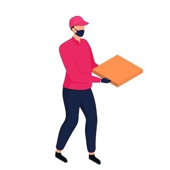 Izometryczny dostawca w masce ochronnej dostarczający paczki pieszo.