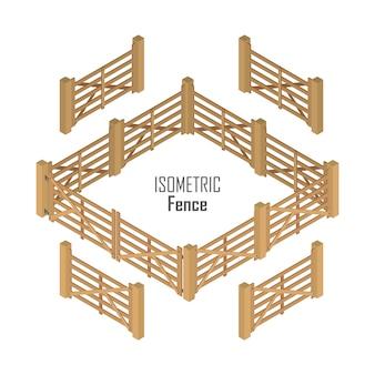 Izometryczny drewniany płot