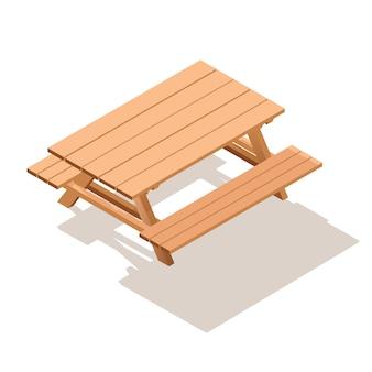 Izometryczny drewniany stół z ławkami.