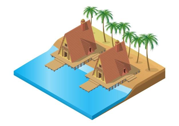 Izometryczny drewniany tropikalny ośrodek na plaży z palmą