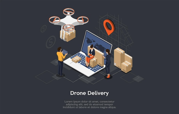 Izometryczny dron szybka dostawa towarów z mapą miasta. autonomiczna logistyka. płaski styl.