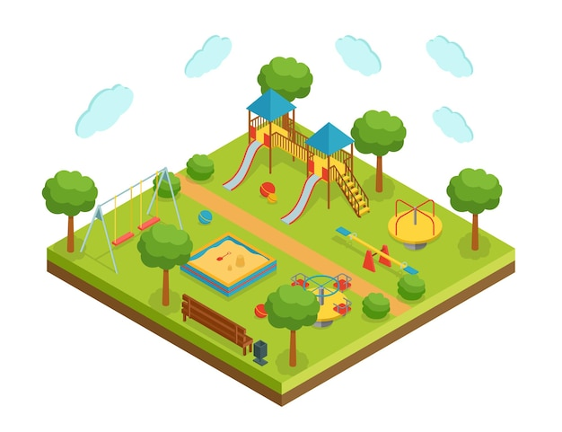 Izometryczny duży plac zabaw dla dzieci na białym tle, ilustracji wektorowych