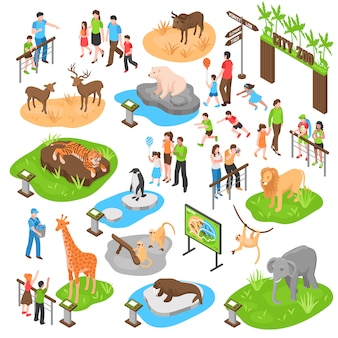 Izometryczny duży zestaw zoo