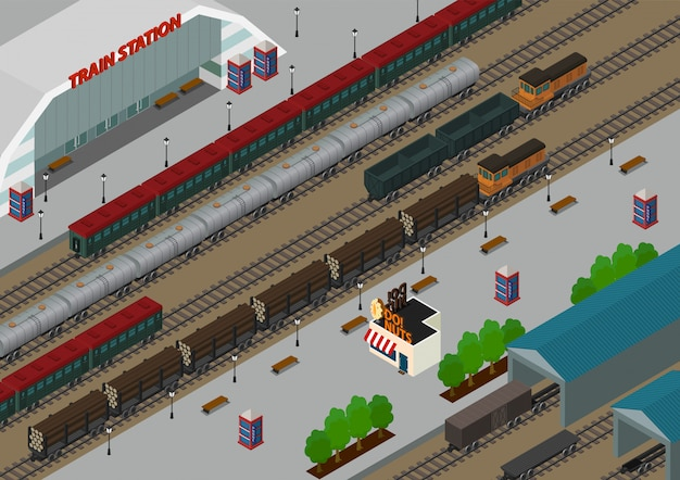 Izometryczny dworzec kolejowy