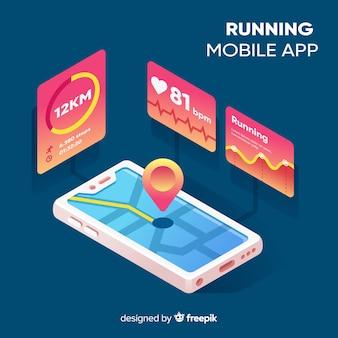Izometryczny działa infografika aplikacji mobilnej